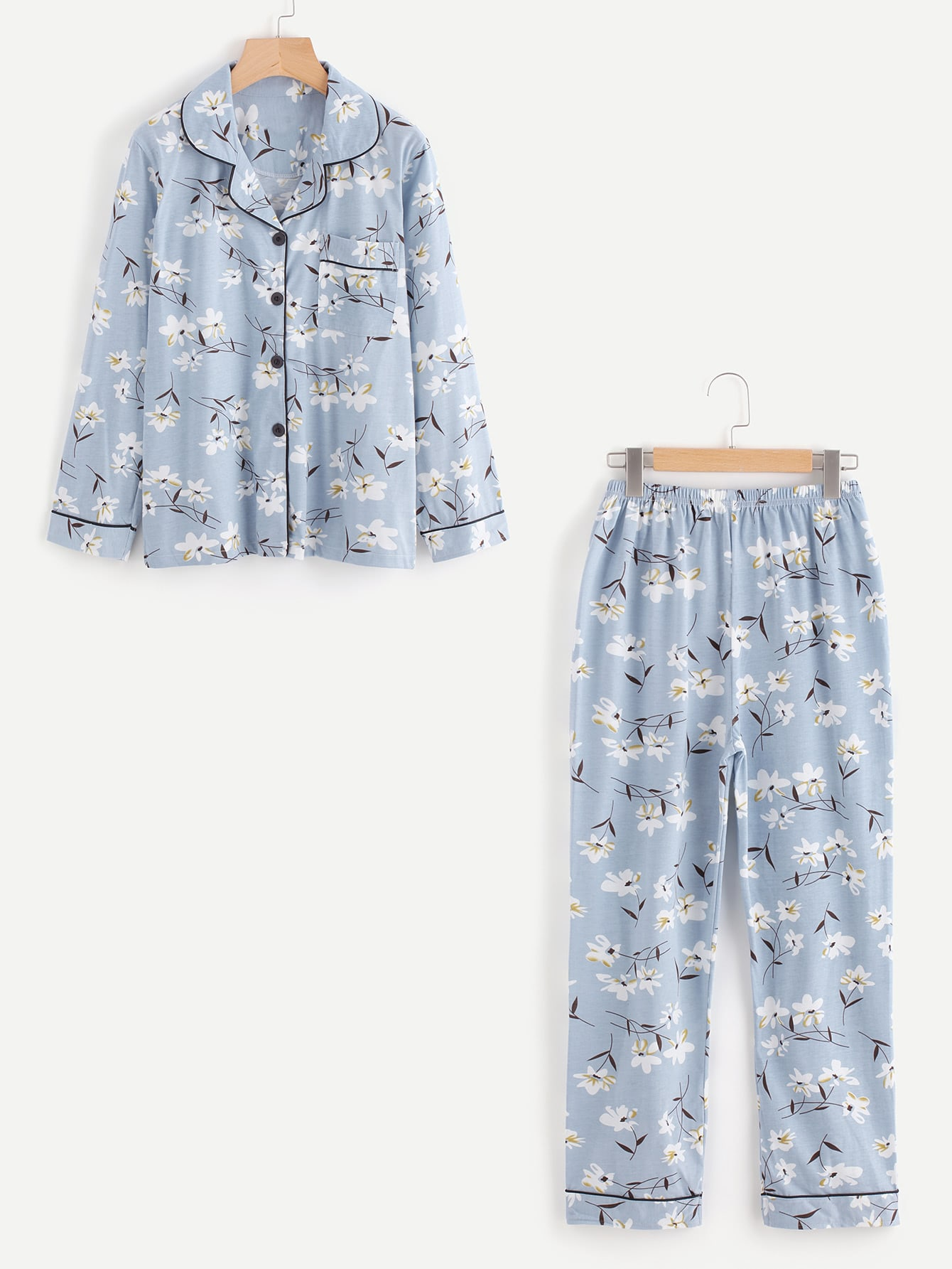 Contrast Binding Calico Print Long Pajama Set цена и фото