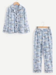 Contrast Binding Calico Print Long Pajama Set