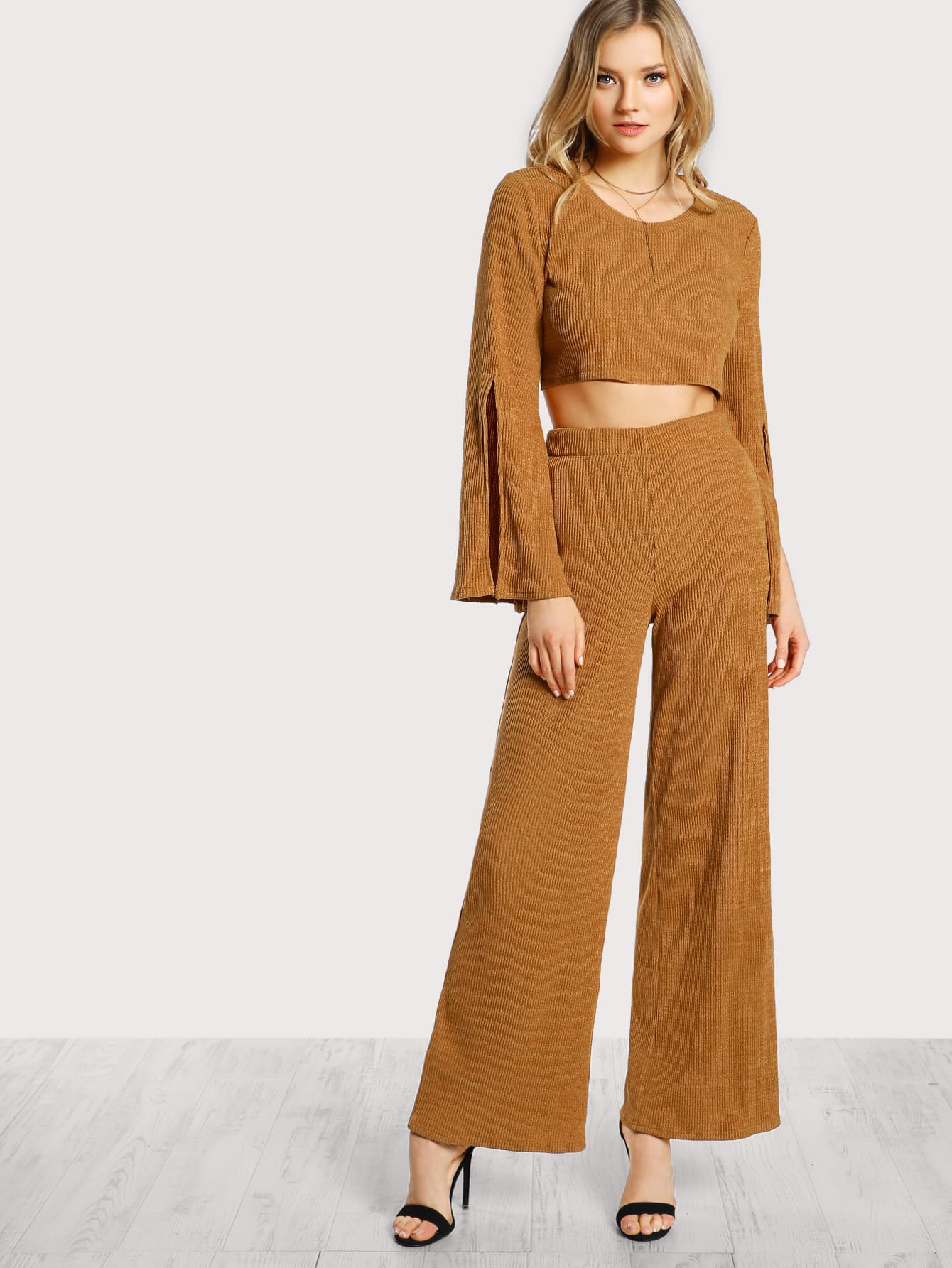 Split Sleeve Crop Top & Palazzo Pants Set