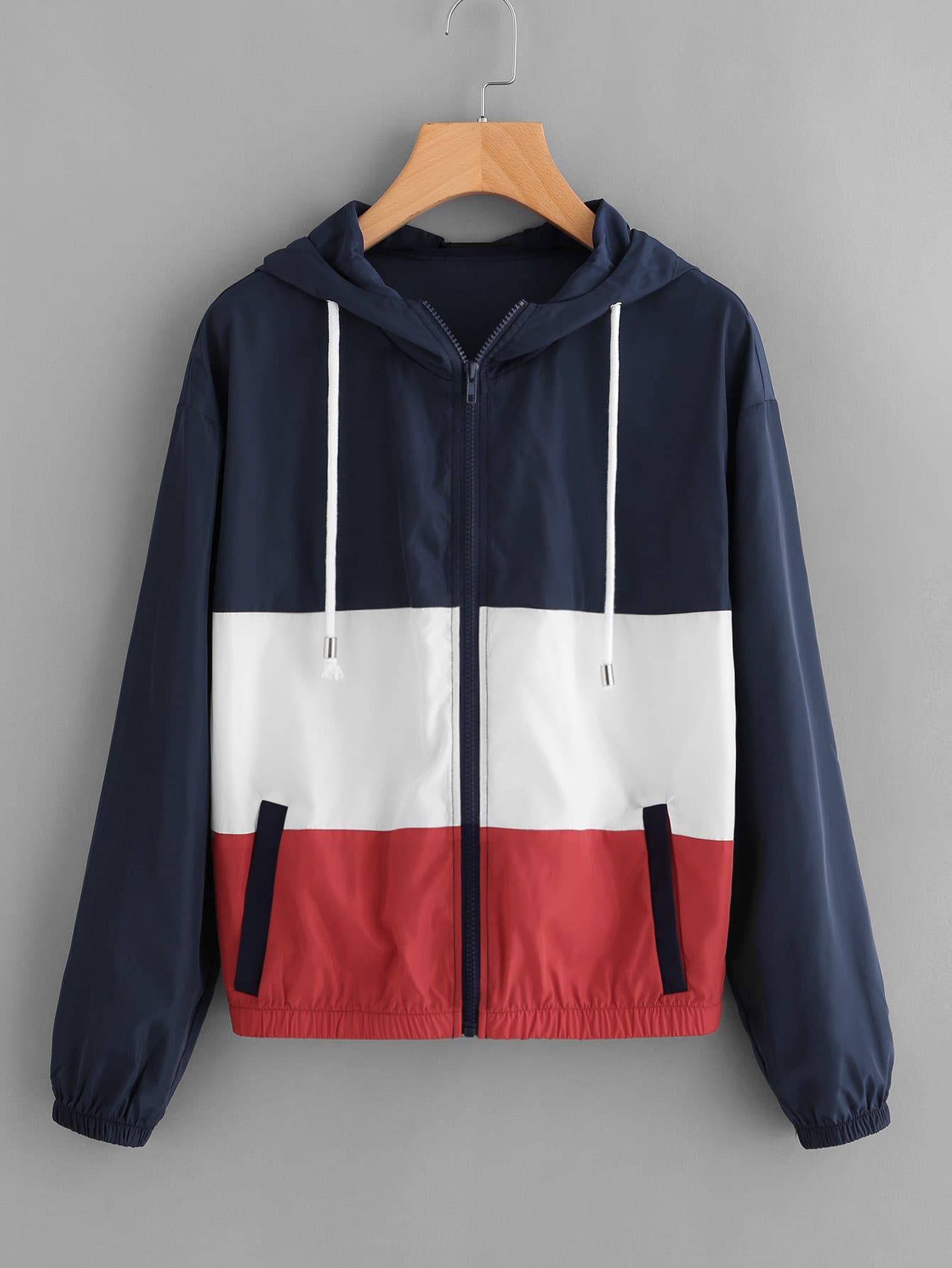 Cut And Sew Hooded Windbreaker Jacket -SheIn(Sheinside)