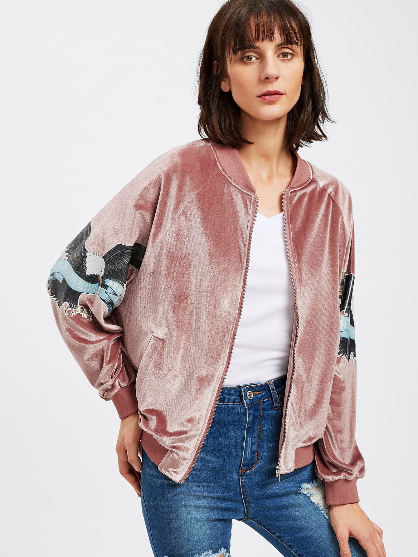 Eagle Patch Sleeve Zip Up Velvet Jacket zip up jacket