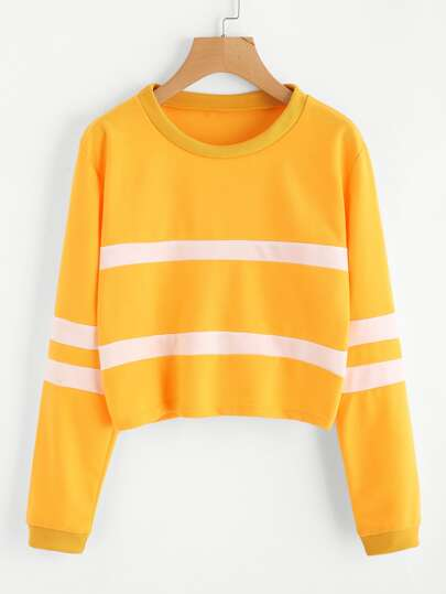 Stripe Panel Crop Pullover