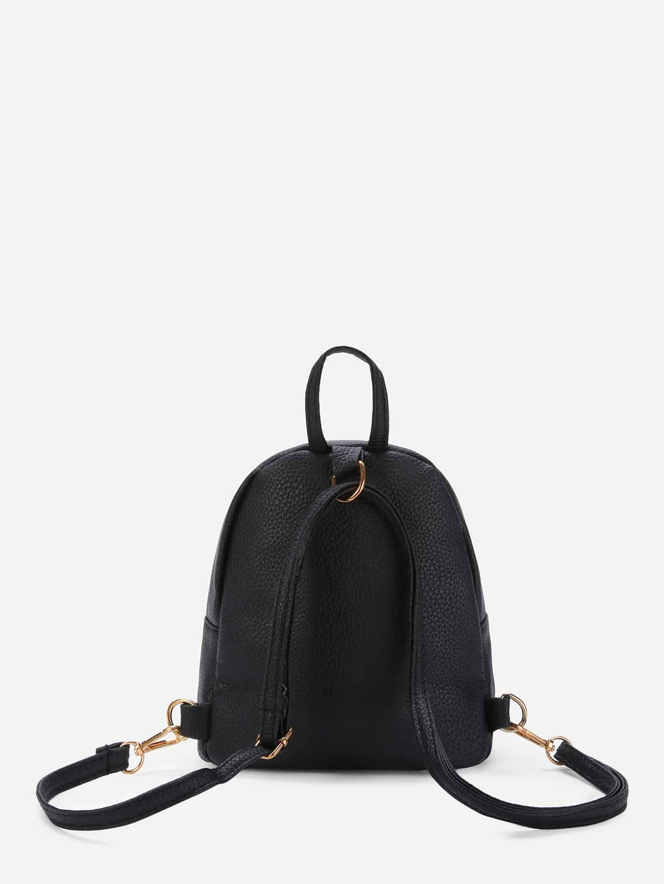 Metal Detail Front Zipper PU Backpack