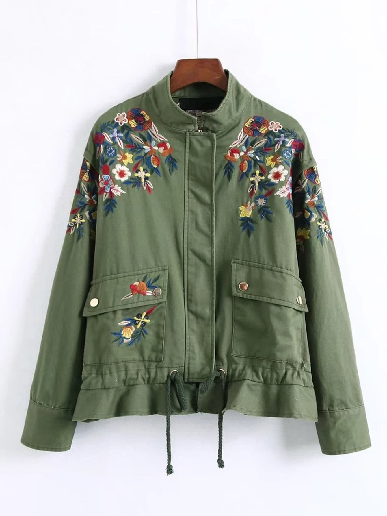 Embroidery flower military peplum jacket emmacloth women