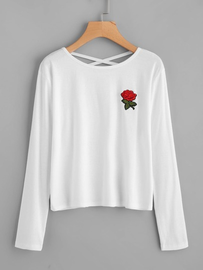 Embroidered Rose Patch Criss Cross Back Tee