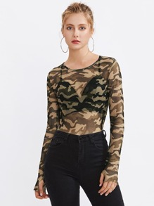 See-Through Camo Lettuce Edge Tee With Thumb Holes