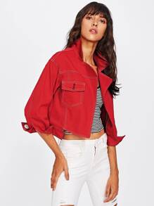 Open Front Cropped Denim Jacket