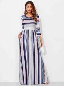 Colorful Striped High Waist Dress