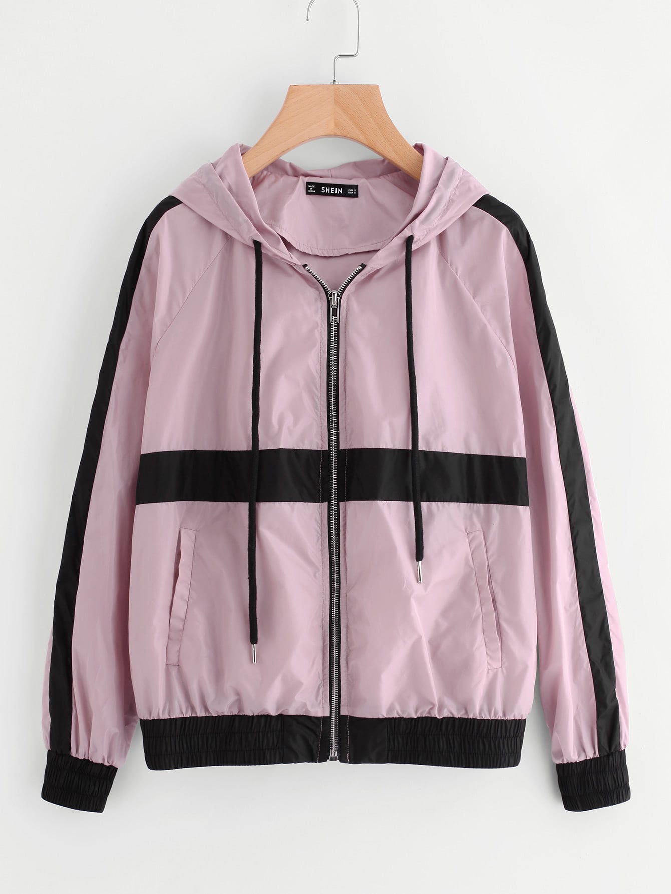 Striped Raglan Sleeve Hoodie Jacket letter print raglan sleeve hoodie jacket