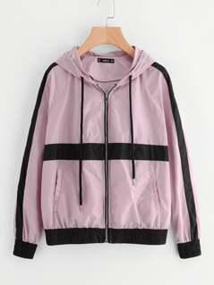 Striped Raglan Sleeve Hoodie Jacket