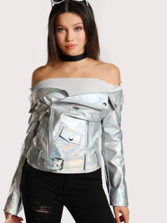 Off Shoulder Holographic Moto Jacket SILVER