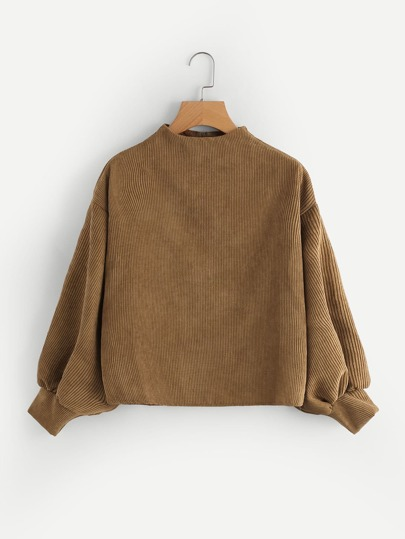 Zip Back Bishop Sleeve Corduroy Pullover