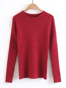 Slim Fit Cable Knit Sweater
