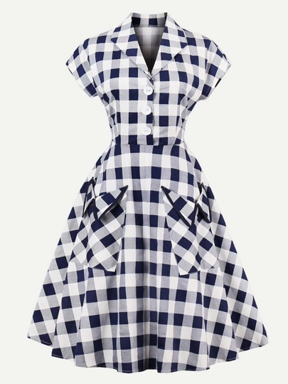 Buffalo Check Dual Pocket Circle Dress