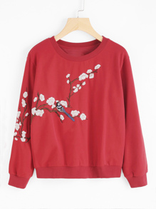 Flower Blossom Embroidered Pullover