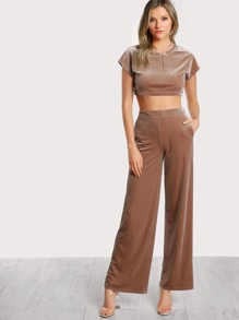 Velvet Crop Tee And Palazzo Pants Set