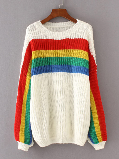 Block Striped Drop Shoulder Jumper Sweater