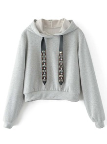 Sweat-shirt à capuche avec strass