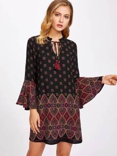Tassel Tie Neck Bell Sleeve Ornate Print Dress