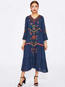 Flower Embroidered Frill Hem Dress