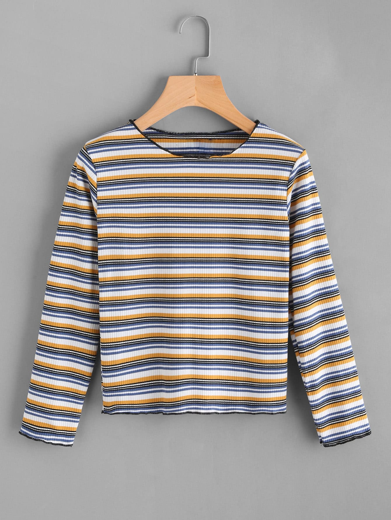 Contrast Striped Ribbed Knit Tee color block knit ribbed tee