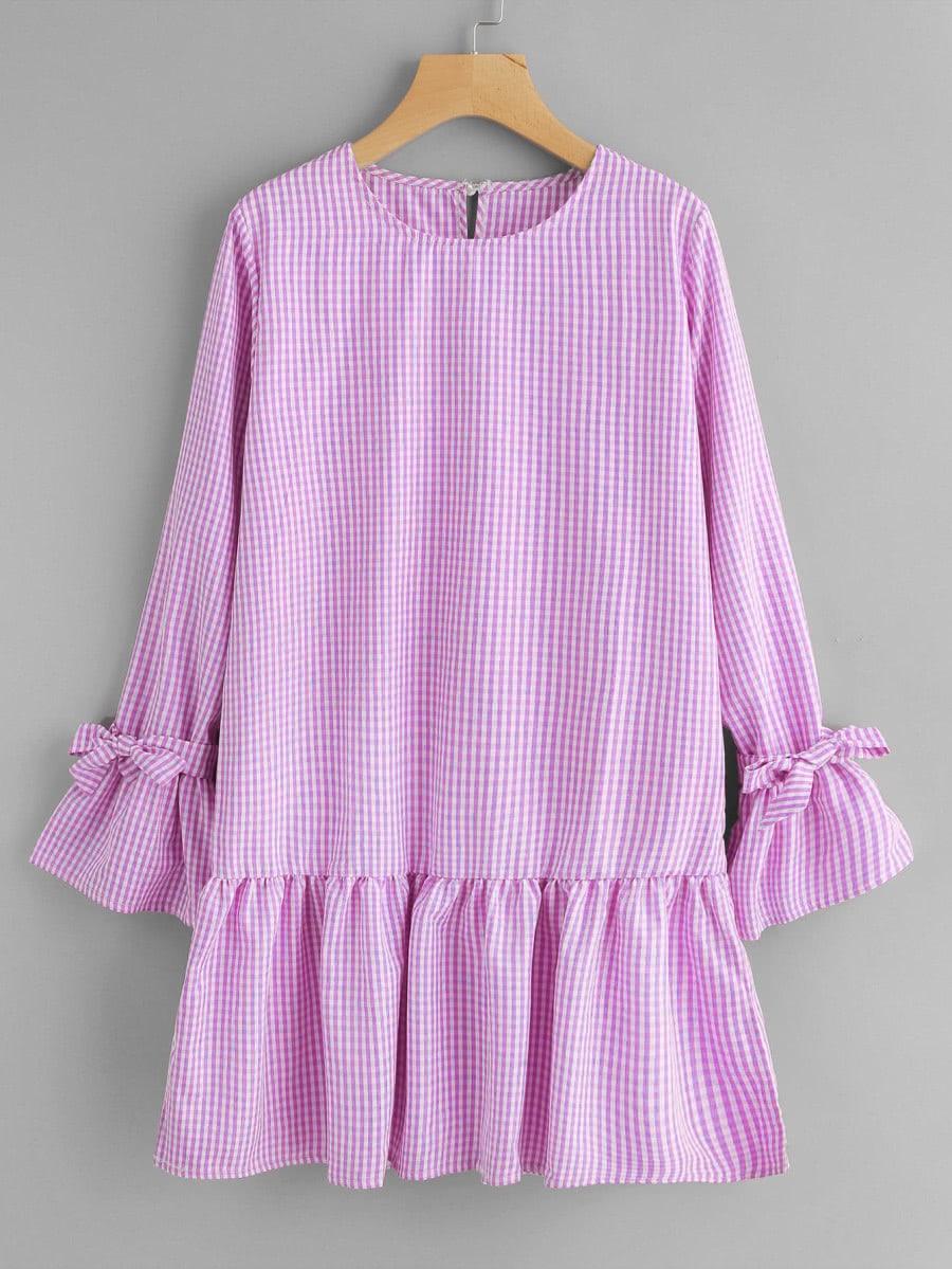 Flute Sleeve Frill Hem Gingham Dress dress170911112