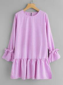 Flute Sleeve Frill Hem Gingham Dress