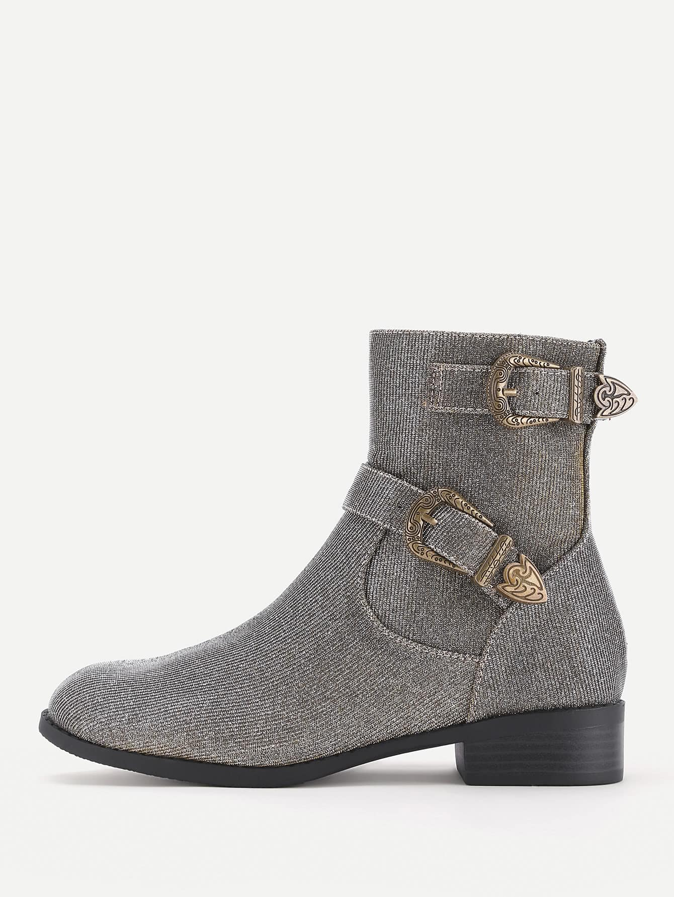 Side Zipper Buckle Belt Ankle Boots цена и фото
