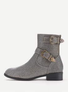Side Zipper Buckle Belt Ankle Boots
