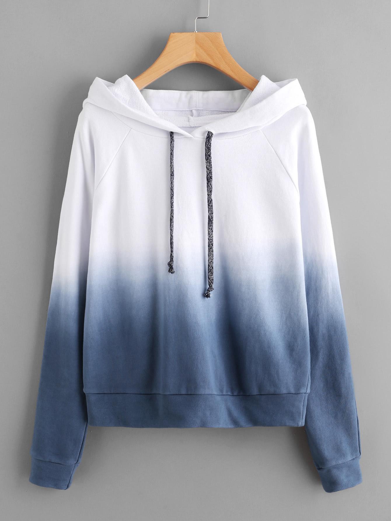 Raglan Sleeve Ombre Hoodie colorful zipper design raglan sleeve hoodie