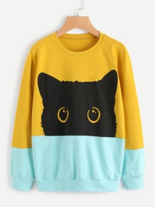 Cat Head Print Color Block Sweatshirt
