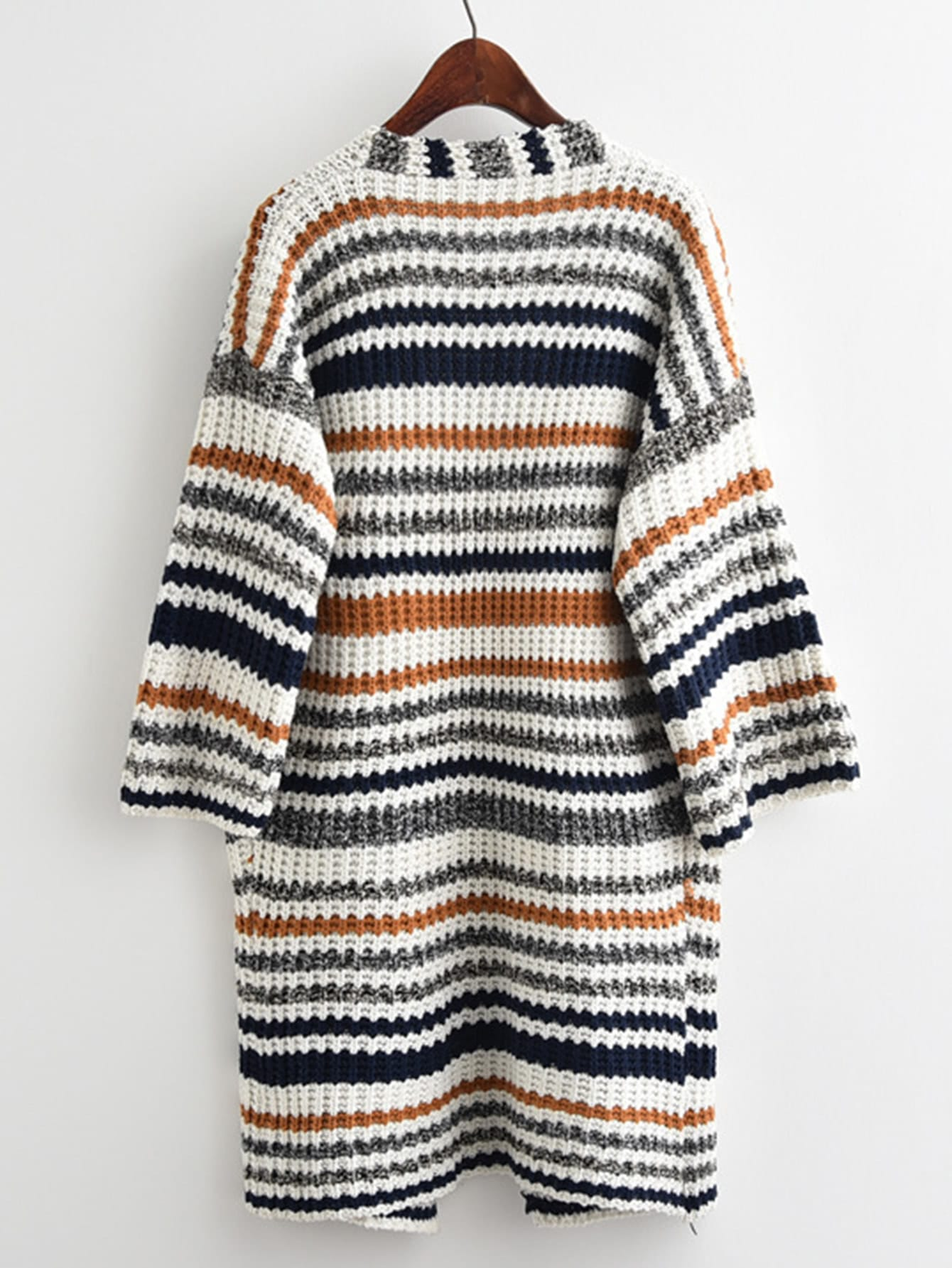Striped Textured Knit Longline Cardigan Sweater