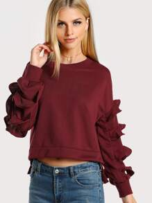 Layered Ruffle Sleeve Sweatshirt WINE