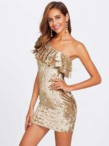 Layered Frill One Shoulder Crushed Velvet Dress