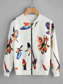 Bird Print Random Zip Up Jacket