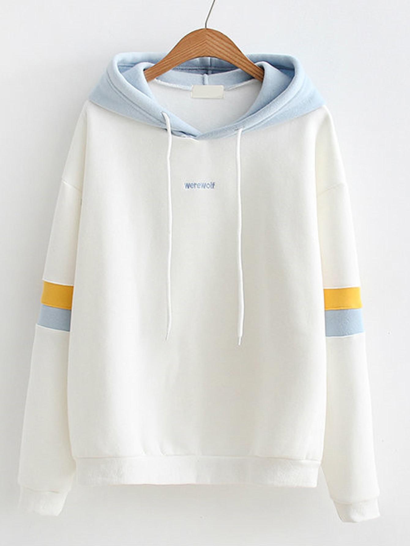 Striped Sleeve Contrast Hooded Sweatshirt