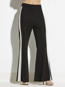 Contrast Side Flare Pants