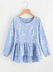 Модная блуза с оборкой и цветочным принтом