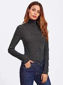 Elbow Patch High Neck Heathered Top