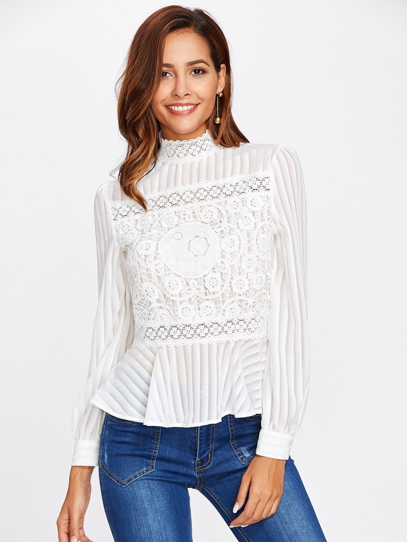 Lace Panel See Through Peplum Blouse