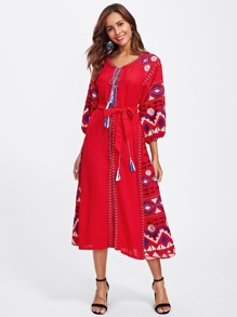 Embroidered Detail Split Front Self Tie Dress