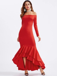 Layered Flounce Hem Off Shoulder Fishtail Dress