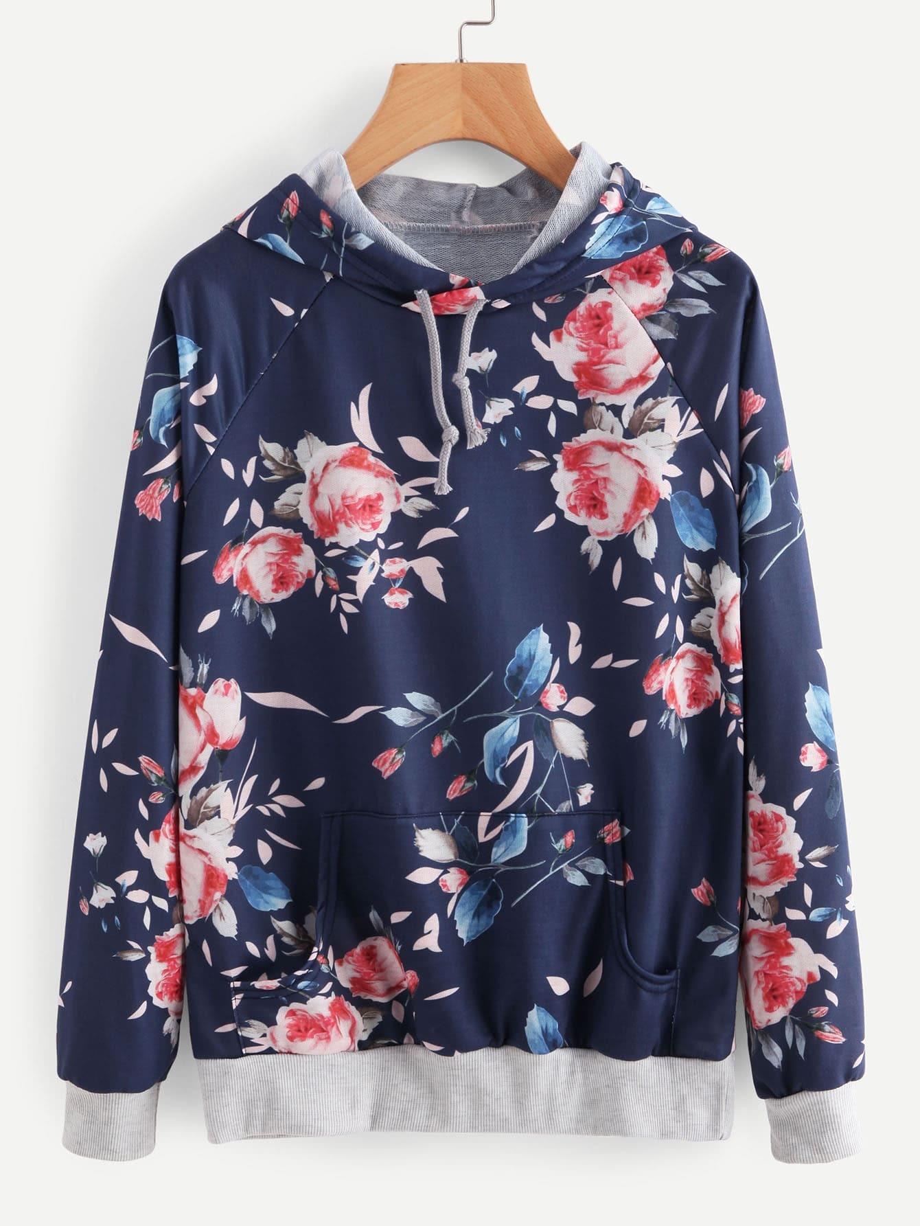 Contrast Ribbed Trim Botanical Print Raglan Hoodie sweatshirt170908101