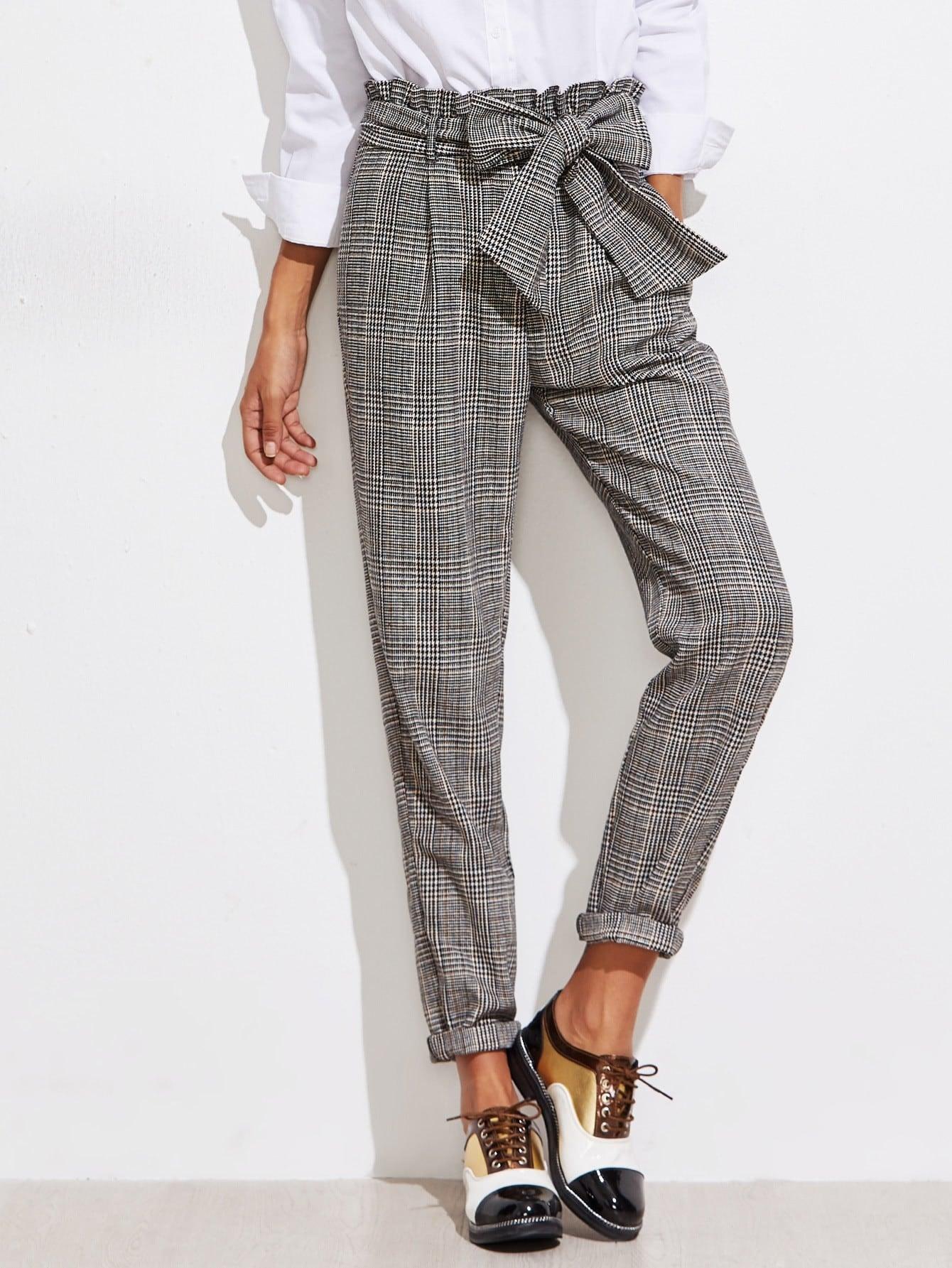 Frill Belted Waist Gingham Pants ruffle waist belted peg pants