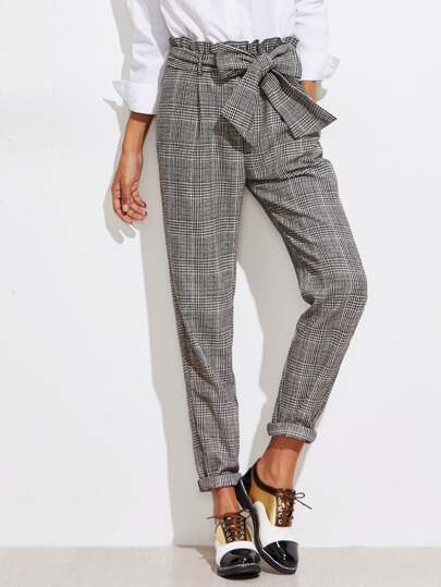 Frill Belted Waist Gingham Pants