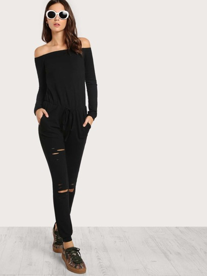 Off Shoulder Distressed Sweatshirt Jumpsuit
