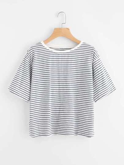 Drop Shoulder Striped Tee