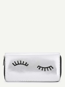 Eyelash Pattern PU Purse