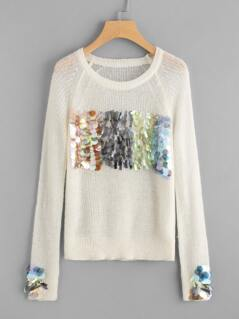Sequin Detail Raglan Sleeve Paper Thin Sweater