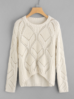 Beading Detail Eyelet Geo Sweater